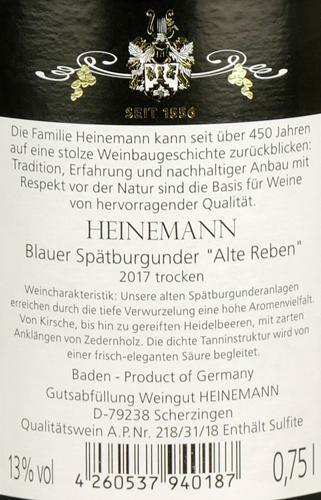 Weingut Heinemann Blauer Spätburgunder Alte Reben