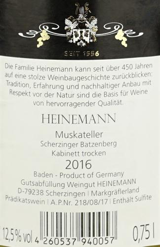 Weingut Heinemann Muskateller Scherzinger Batzenberg Kabinett trocken